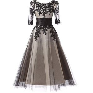 aa72008fd89da Dresses   Skirts - Women s Black Lace Applique Tulle Long Formal